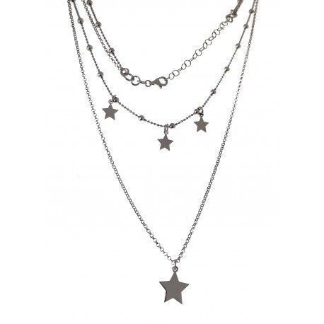 33409 Gargantilla doble rodiada estrellas