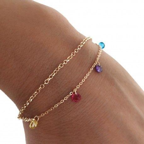 34169 Pulsera doble cadena chapada piedra color