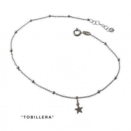 34198 Tobillera rodiada cadena combinada estrellas