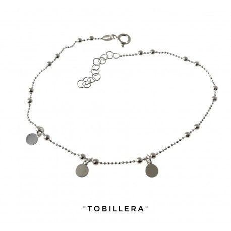 34204 Tobillera cadena combinada discos colgando