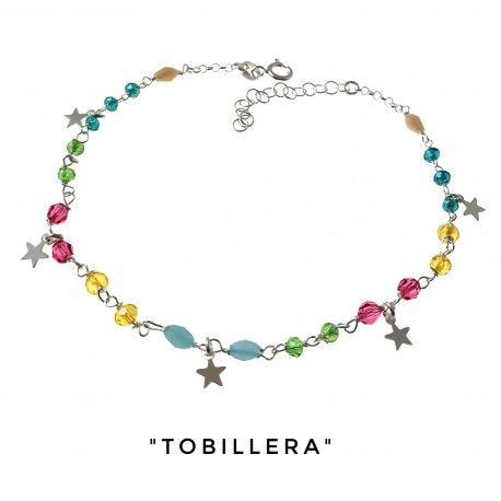 34214 Tobillera piedras color estrellas colgando