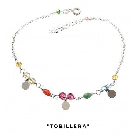 34216 Tobillera piedra color discos