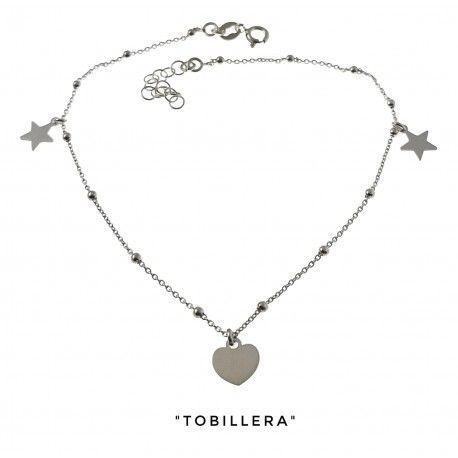 34223 Tobillera cadena combinada corazón y estrellas colgando