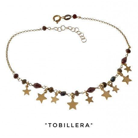 34237 Tobillera chapada piedra color estrellas