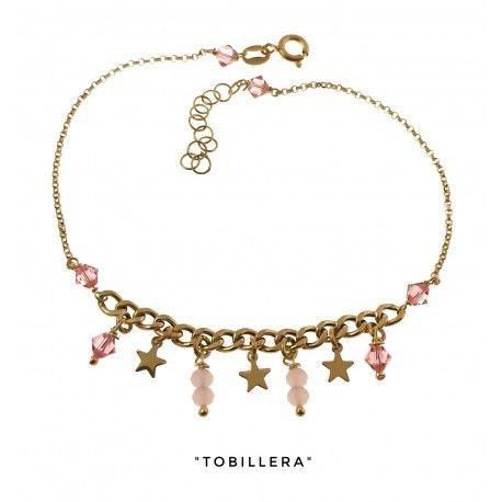 34242 Tobillera chapada piedras rosas estrellas