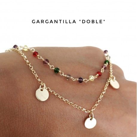 34124.2 Gargantilla chapada doble cadena discos piedras en color