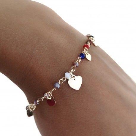 34137 Pulsera chapada corazones piedra color