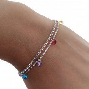 34168-300x300 Pulsera doble cadena rodiada piedra color