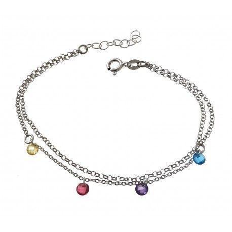 34168.2 Pulsera doble cadena rodiada piedra color