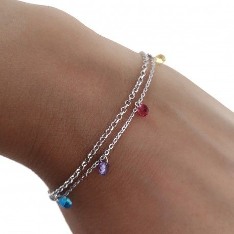 34168 Pulsera doble cadena rodiada piedra color