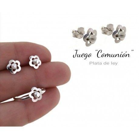 34190 Juego comunión flor perla