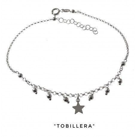 34261 Tobillera bolas talladas estrella