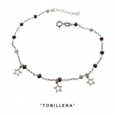 34265 Tobillera rodiada piedra color estrellas