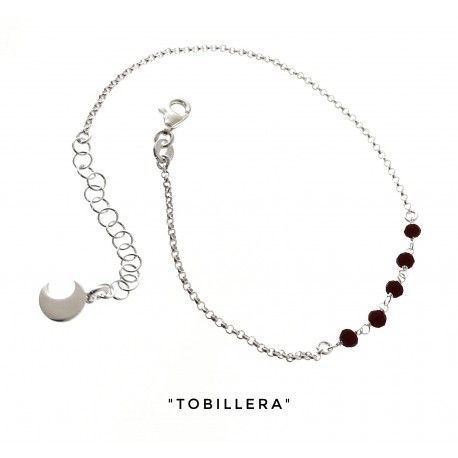 34275.2 Tobillera cadena rolo piedra color