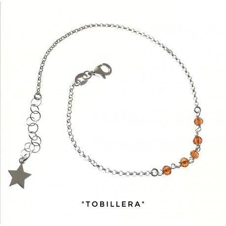 34275 Tobillera cadena rolo piedra color