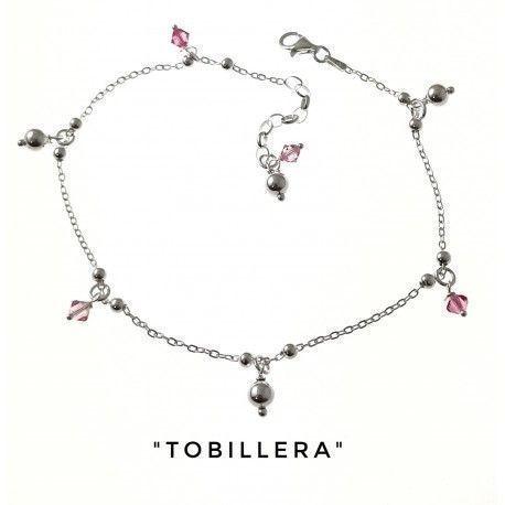 34276 Tobillera cadena bolas piedras rosas colgando