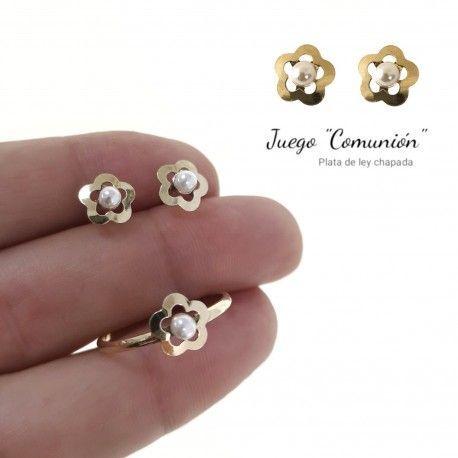 34286 Juego comunión perla chapado