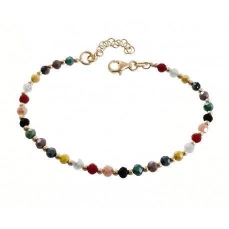 33694 Pulsera chapada piedras color