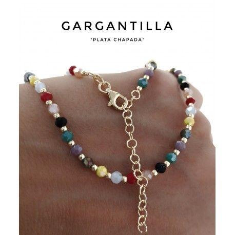 33695.2-1 Gargantilla piedras color chapada