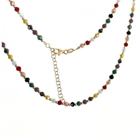 33695 Gargantilla piedras color chapada