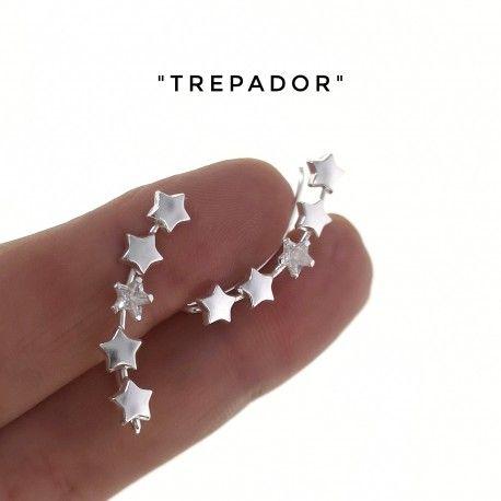 34389 Pendiente trepador circonitas estrellas