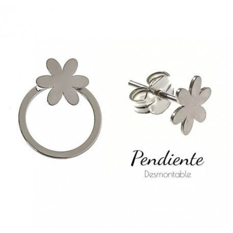 34468 Pendiente aro desmontable flor