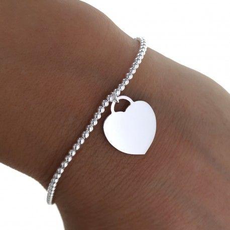 29012 Pulsera corazón cadena bolas