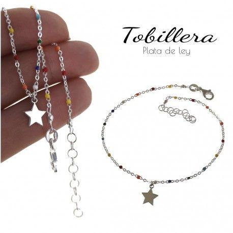 34822 Tobillera estrella piedra color
