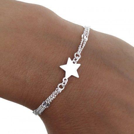 34850 Pulsera doble cadena estrella