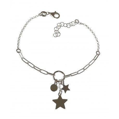 34853.2 Pulsera cadena rolo-forzada estrellas y disco colgando