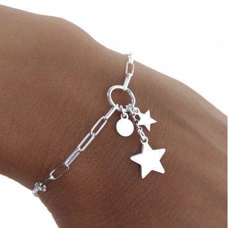 34853 Pulsera cadena rolo-forzada estrellas y disco colgando