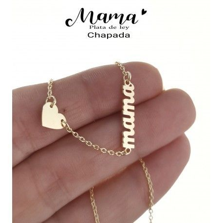 34875 Gargantilla mamá corazón chapada