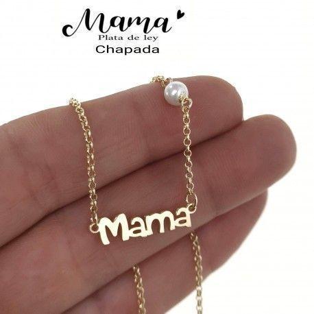 34877 Gargantilla mamá perla chapada