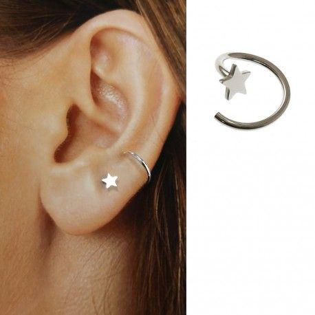 34895 Pendiente estrella con falso aro (Medio par)
